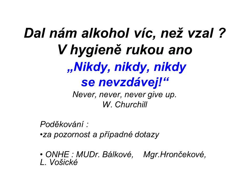 """Dal nám alkohol víc, než vzal ? V hygieně rukou ano """"Nikdy, nikdy, nikdy se nevzdávej!"""" Never, never, never give up. W. Churchill Poděkování : za pozo"""