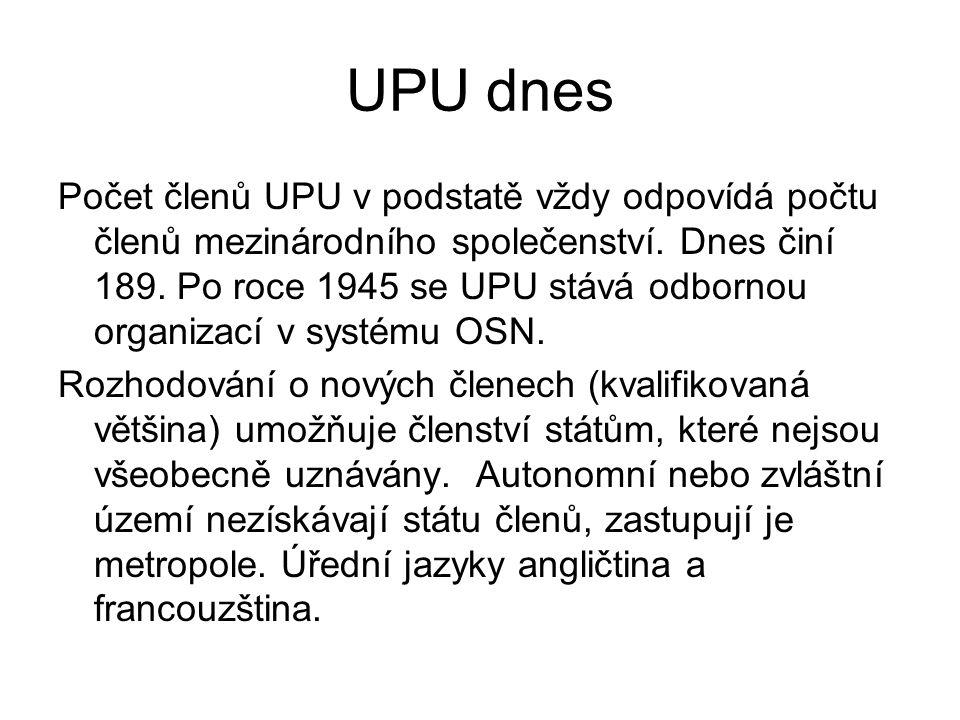 Orgány UPU Základním orgánem je Poštovní kongres (Postal Congress), složený ze zplnomocněných zástupců členských států (ministři obecní či zvláštní, poštovní ředitelé atd.).