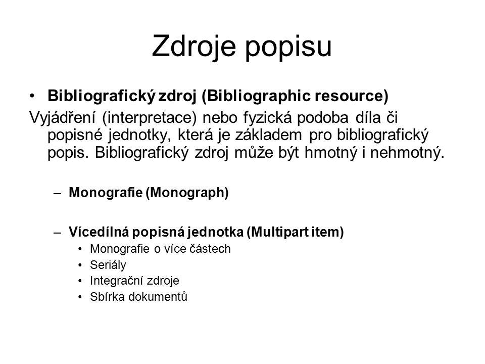 Zdroje popisu Bibliografický zdroj (Bibliographic resource) Vyjádření (interpretace) nebo fyzická podoba díla či popisné jednotky, která je základem pro bibliografický popis.