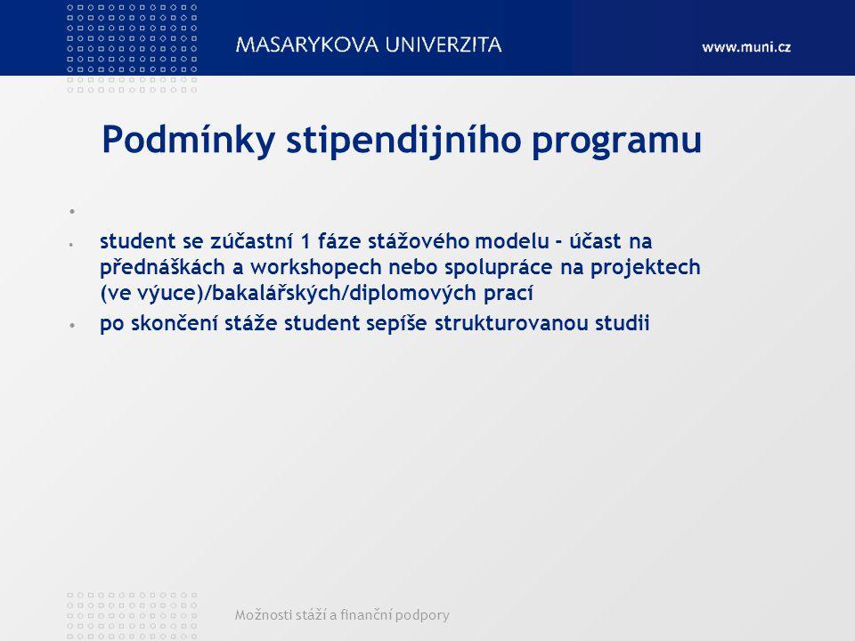 Možnosti stáží a finanční podpory Podmínky stipendijního programu student se zúčastní 1 fáze stážového modelu - účast na přednáškách a workshopech nebo spolupráce na projektech (ve výuce)/bakalářských/diplomových prací po skončení stáže student sepíše strukturovanou studii