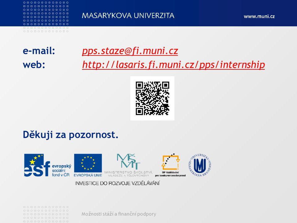 Možnosti stáží a finanční podpory e-mail:pps.staze@fi.muni.czpps.staze@fi.muni.cz web: http://lasaris.fi.muni.cz/pps/internshiphttp://lasaris.fi.muni.cz/pps/internship Děkuji za pozornost.
