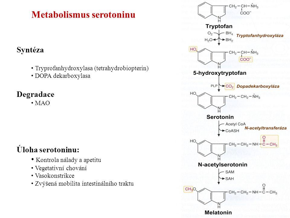 Metabolismus serotoninu Syntéza Tryprofanhydroxylasa (tetrahydrobiopterin) DOPA dekarboxylasa Degradace MAO Úloha serotoninu: Kontrola nálady a apetitu Vegetativní chování Vasokonstrikce Zvýšená mobilita intestinálního traktu