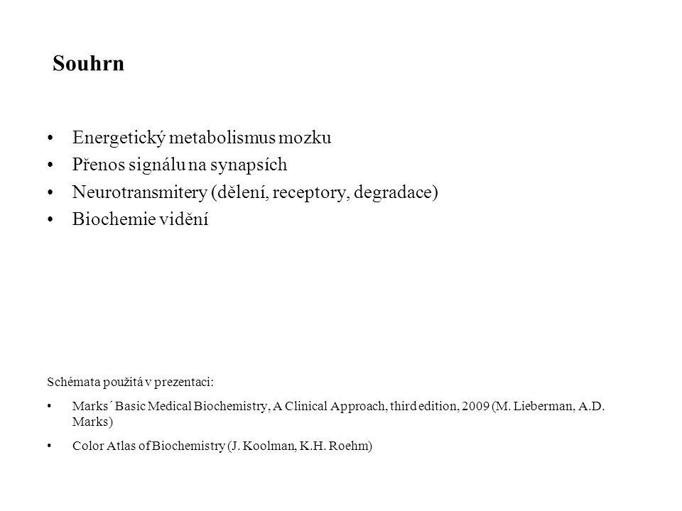 Souhrn Energetický metabolismus mozku Přenos signálu na synapsích Neurotransmitery (dělení, receptory, degradace) Biochemie vidění Schémata použitá v prezentaci: Marks´ Basic Medical Biochemistry, A Clinical Approach, third edition, 2009 (M.