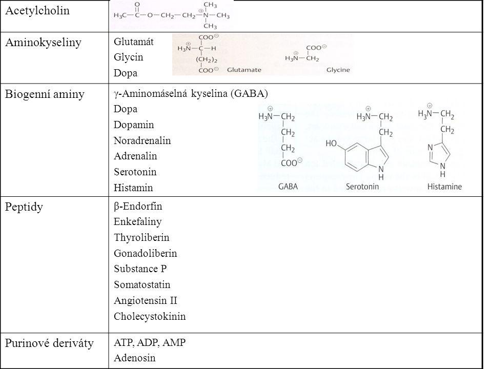 Acetylcholin Aminokyseliny Glutamát Glycin Dopa Biogenní aminy γ-Aminomáselná kyselina (GABA) Dopa Dopamin Noradrenalin Adrenalin Serotonin Histamin P