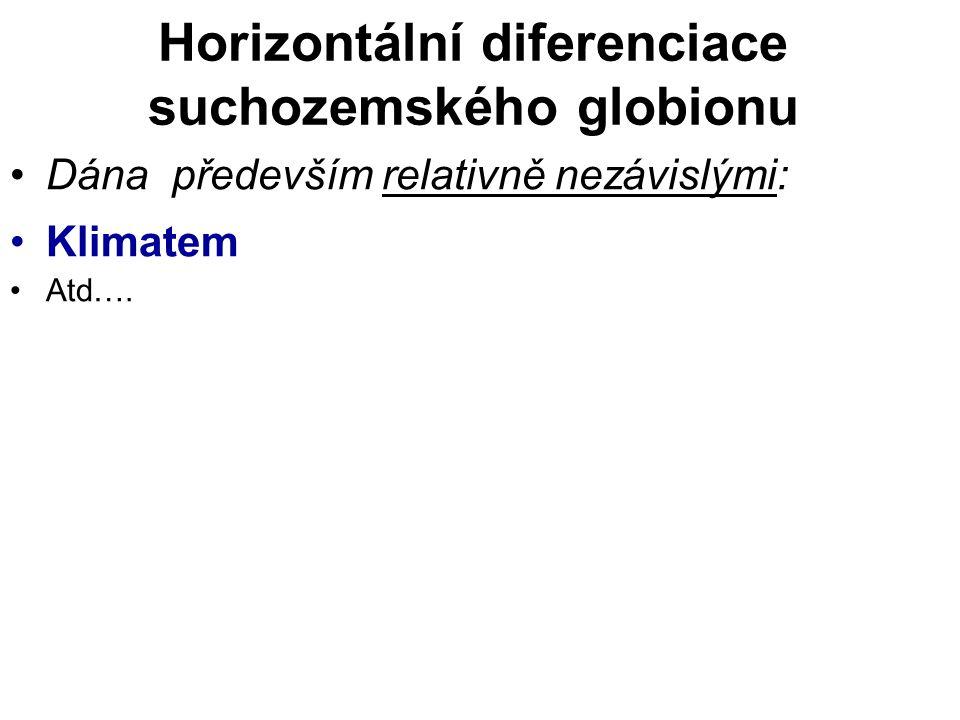 Horizontální diferenciace suchozemského globionu Dána především relativně nezávislými: Klimatem Atd….