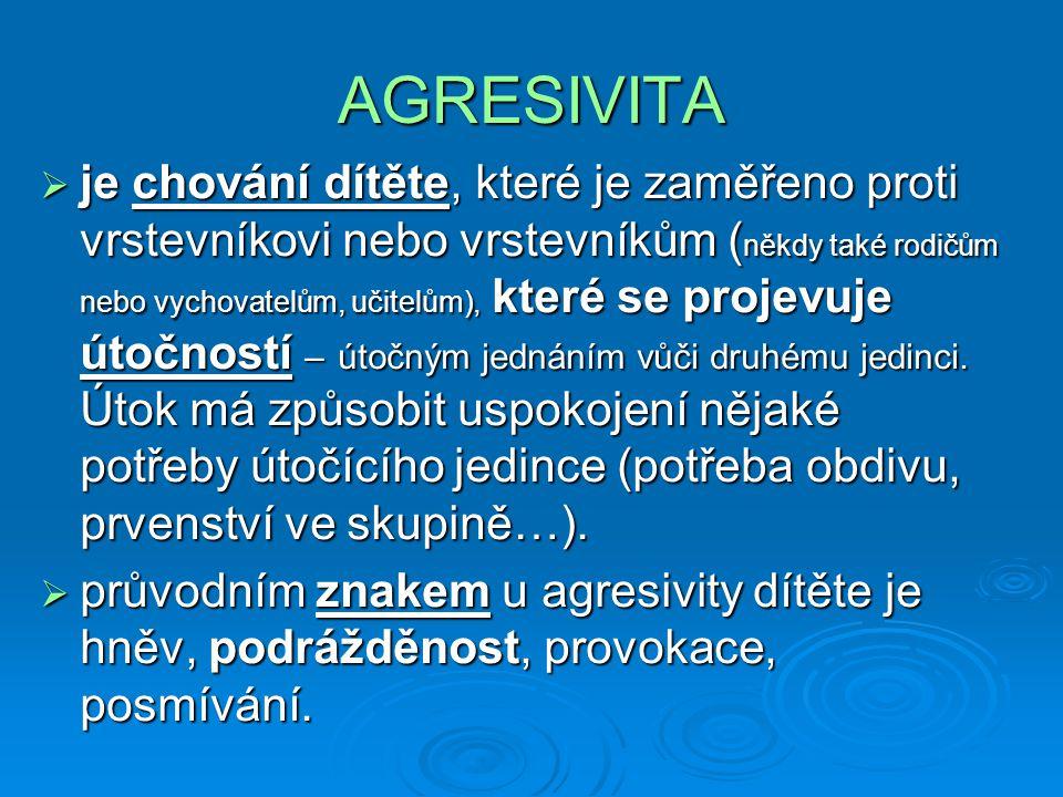AGRESIVITA  je chování dítěte, které je zaměřeno proti vrstevníkovi nebo vrstevníkům ( někdy také rodičům nebo vychovatelům, učitelům), které se projevuje útočností – útočným jednáním vůči druhému jedinci.