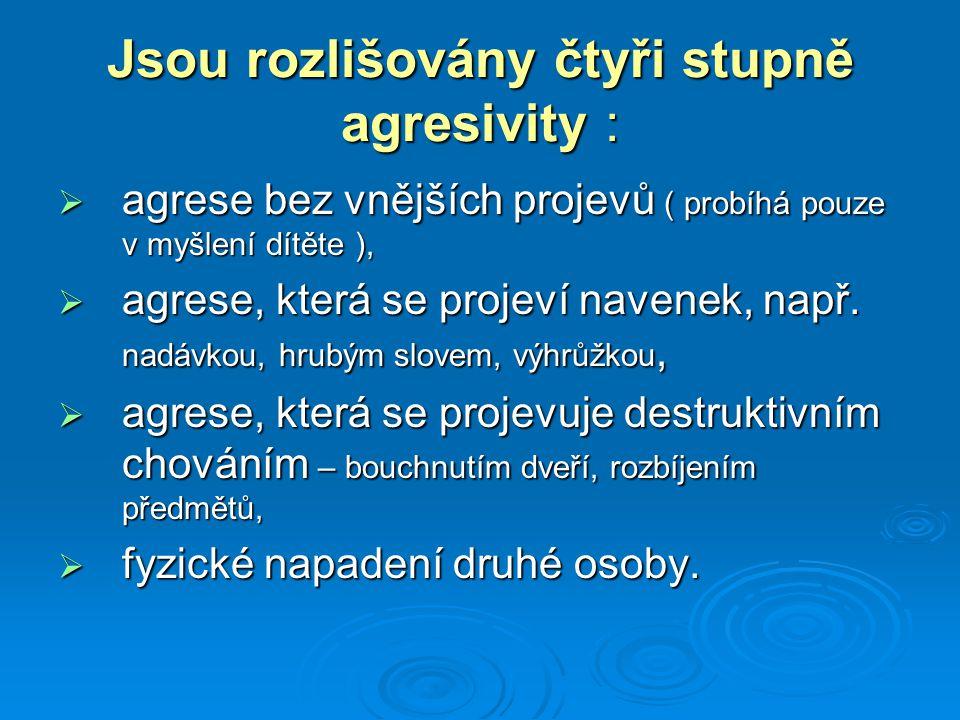 Jsou rozlišovány čtyři stupně agresivity :  agrese bez vnějších projevů ( probíhá pouze v myšlení dítěte ),  agrese, která se projeví navenek, např.