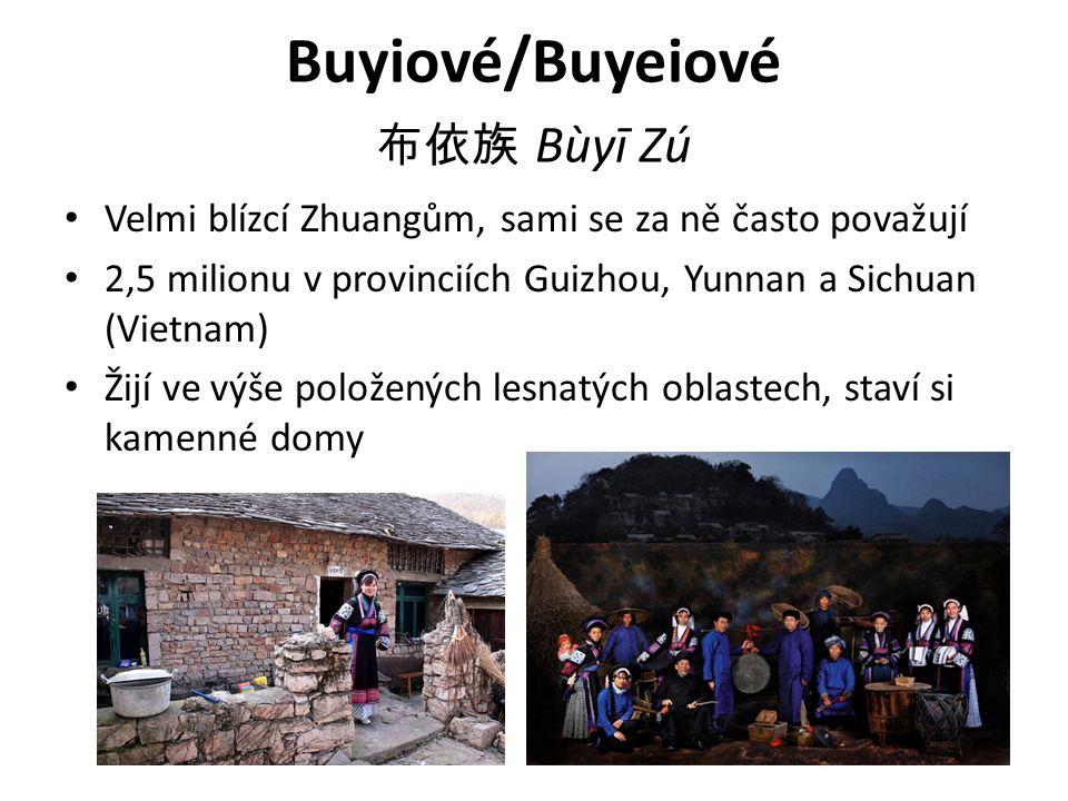 Buyiové/Buyeiové 布依族 Bùyī Zú Velmi blízcí Zhuangům, sami se za ně často považují 2,5 milionu v provinciích Guizhou, Yunnan a Sichuan (Vietnam) Žijí ve výše položených lesnatých oblastech, staví si kamenné domy