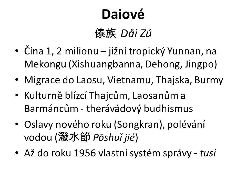 Daiové 傣族 Dǎi Zú Čína 1, 2 milionu – jižní tropický Yunnan, na Mekongu (Xishuangbanna, Dehong, Jingpo) Migrace do Laosu, Vietnamu, Thajska, Burmy Kulturně blízcí Thajcům, Laosanům a Barmáncům - therávádový budhismus Oslavy nového roku (Songkran), polévání vodou ( 潑水節 Pōshuǐ jié) Až do roku 1956 vlastní systém správy - tusi