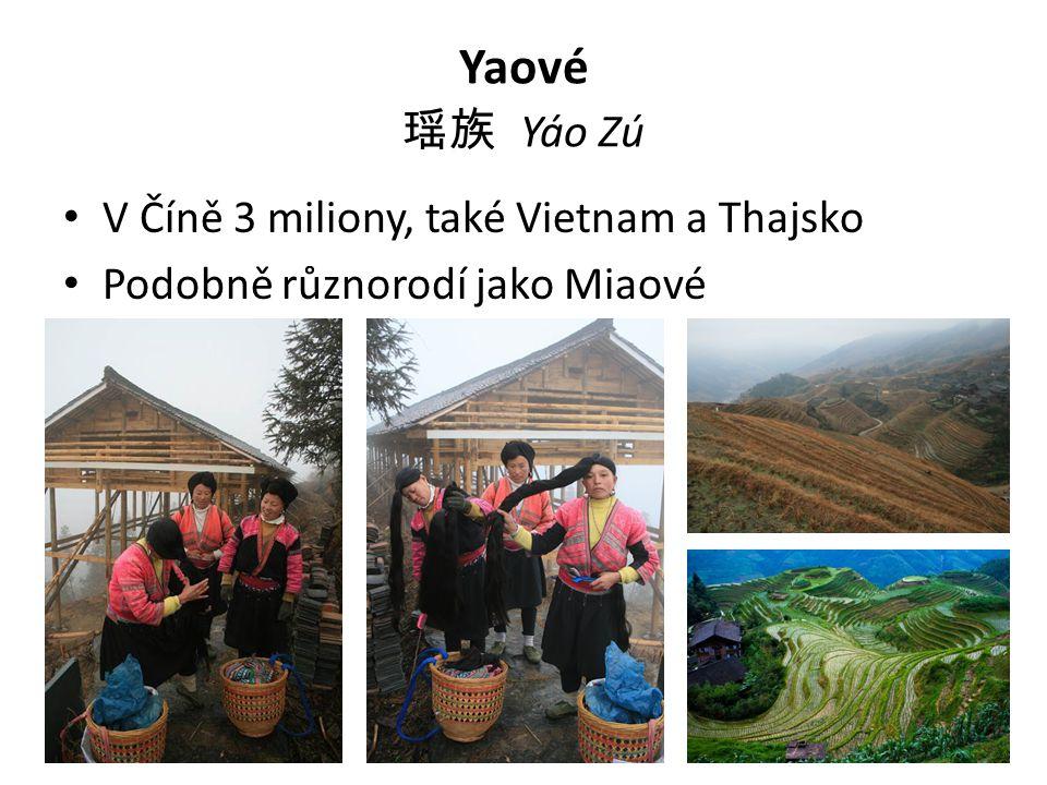 Yaové 瑶族 Yáo Zú V Číně 3 miliony, také Vietnam a Thajsko Podobně různorodí jako Miaové