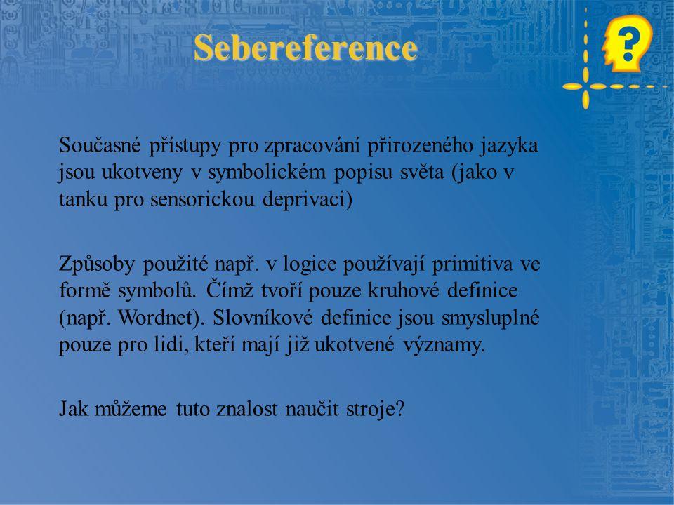 Sebereference Současné přístupy pro zpracování přirozeného jazyka jsou ukotveny v symbolickém popisu světa (jako v tanku pro sensorickou deprivaci) Způsoby použité např.