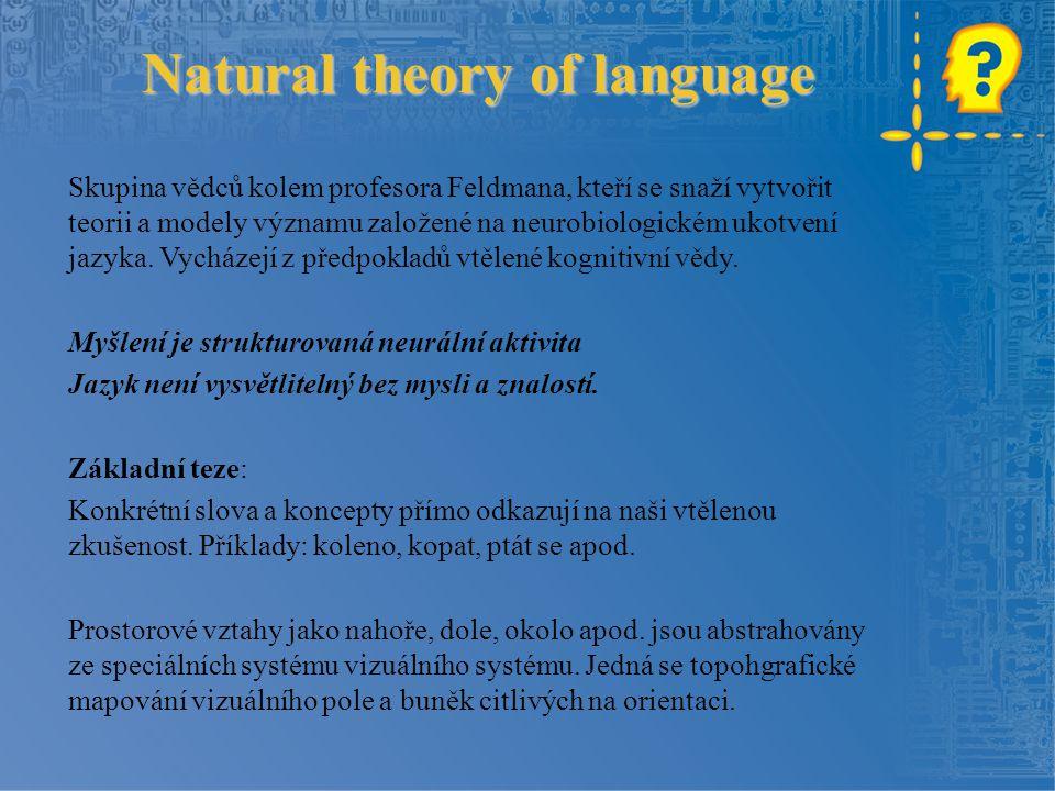 Natural theory of language Skupina vědců kolem profesora Feldmana, kteří se snaží vytvořit teorii a modely významu založené na neurobiologickém ukotvení jazyka.