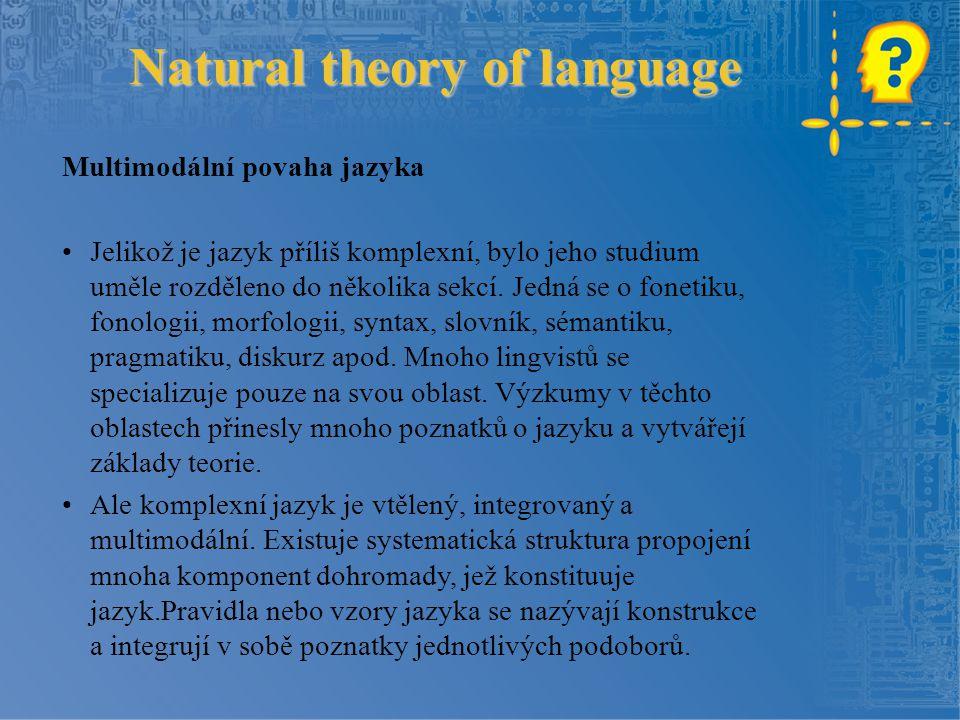 Natural theory of language Multimodální povaha jazyka Jelikož je jazyk příliš komplexní, bylo jeho studium uměle rozděleno do několika sekcí.
