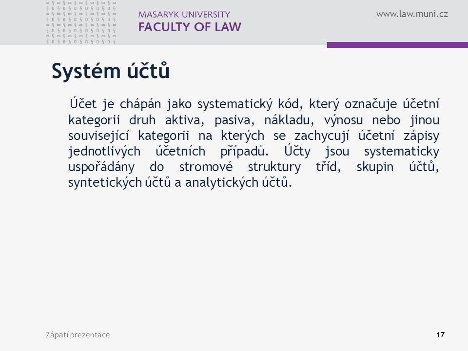 www.law.muni.cz Zápatí prezentace18 Třídy účtů Třídy účtů jsou tvořeny jedním číselným znakem v intervalu [0-9].