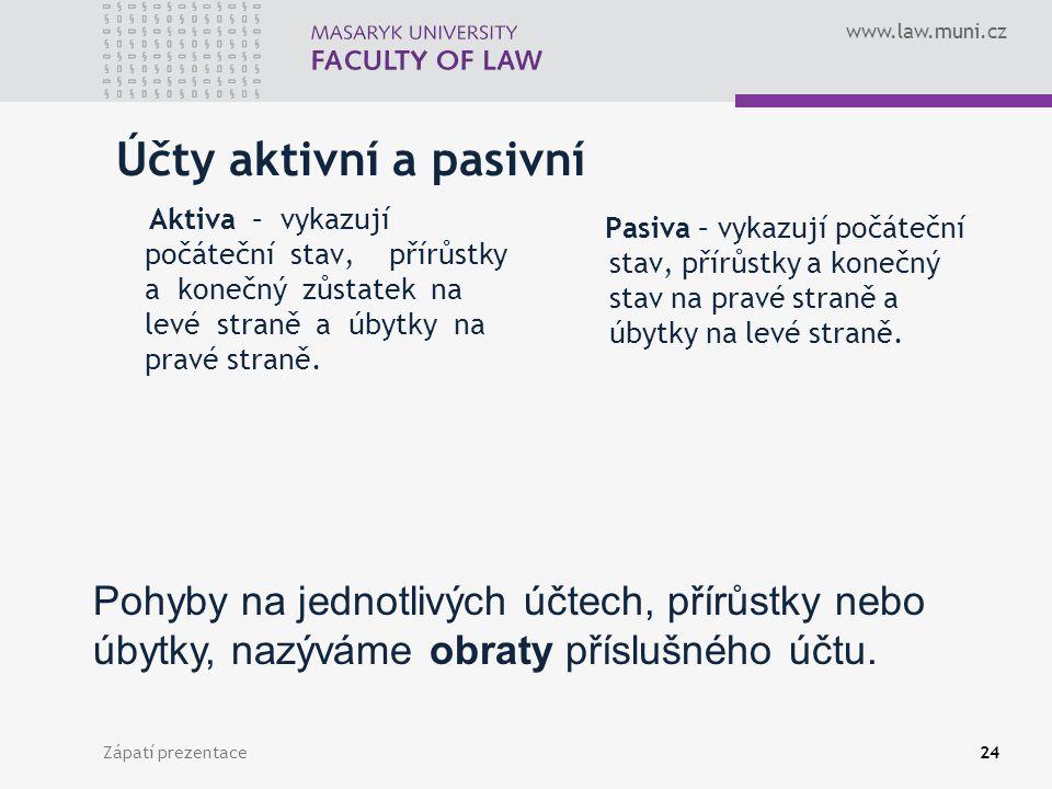 www.law.muni.cz Zápatí prezentace25 Náklady a Výnosy Aby bylo možno vykázat podrobnou strukturu výsledku hospodaření za účetní období, musíme v účetnictví sledovat odděleně rovněž náklady a výnosy.