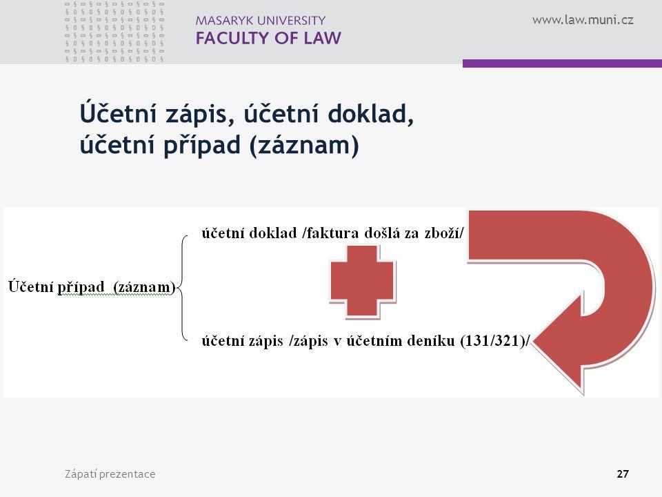 www.law.muni.cz Zápatí prezentace28 Účetní zápis Účetní zápis obsahuje kromě peněžní částky další údaje, které umožňují účetní případ identifikovat.