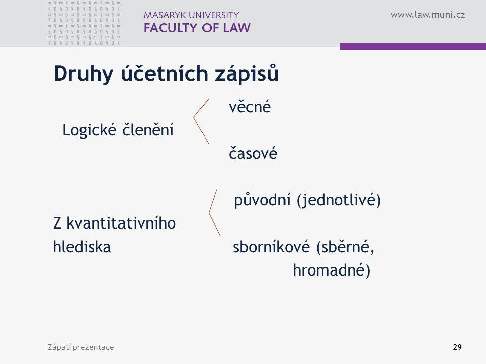 www.law.muni.cz Zápatí prezentace30 Účetní doklady Účetním dokladem je písemný dokument, na jehož základě je proveden účetní zápis.