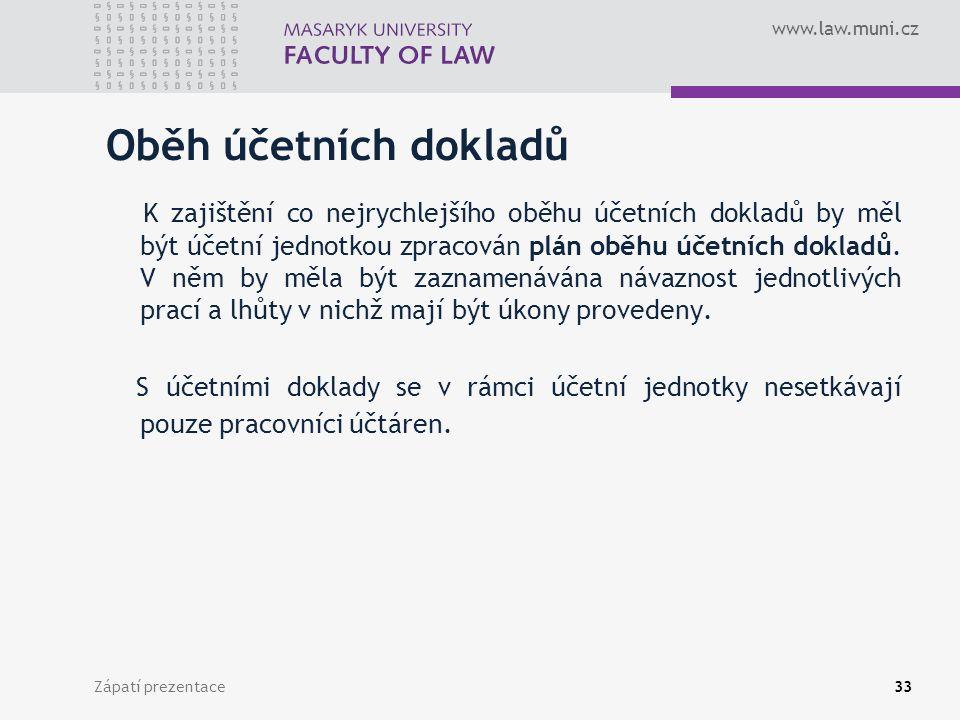 www.law.muni.cz Zápatí prezentace34 Nejčastěji používané účetní doklady dle jejich odrazu v účetních záznamech ÚD k zaúčtování peněžní hotovosti – příjmový a výdajový pokladní doklad – u.č.