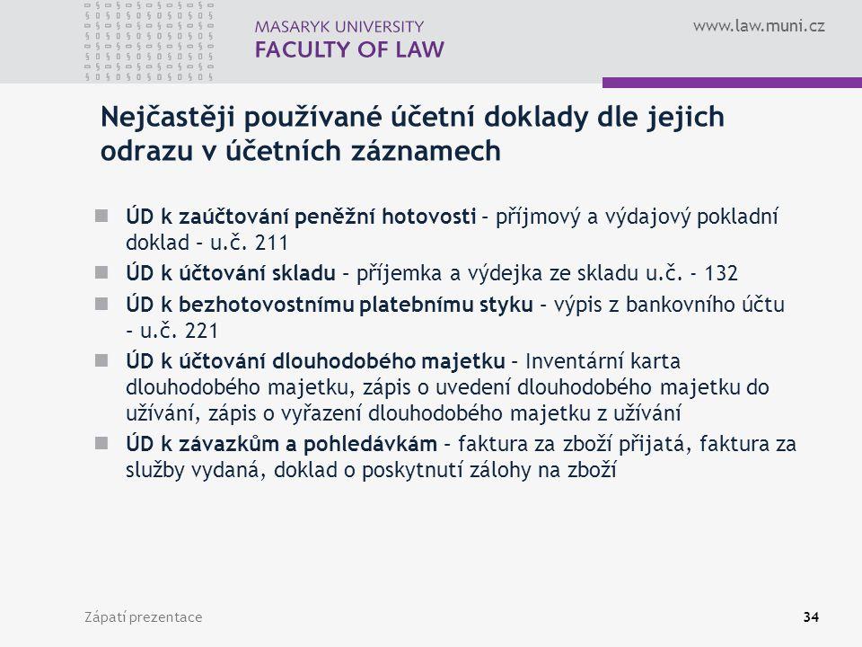 www.law.muni.cz Zápatí prezentace35 Účetní knihy Účetní deník Hlavní kniha Kniha analytických účtů Kniha podrozvahových účtů