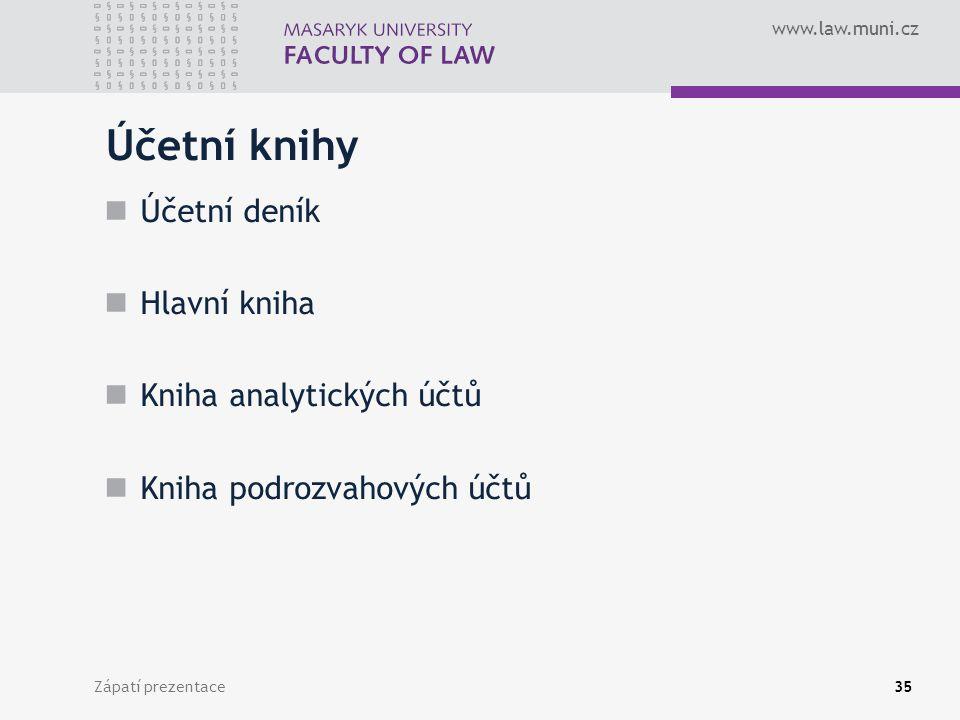 www.law.muni.cz Zápatí prezentace36 Účetní deník Zápisy hospodářských operací z hlediska časového uspořádání se nazývají zápisy časové, chronologické a provádějí se do účetního deníku.