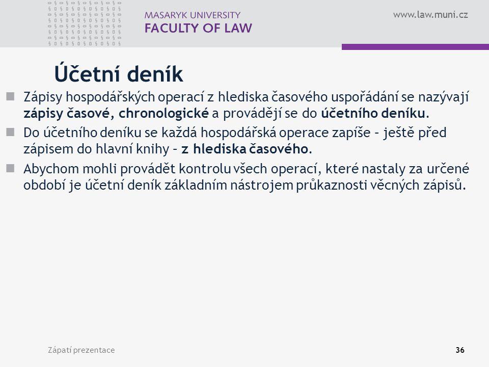 www.law.muni.cz Zápatí prezentace37 Hlavní kniha Soubor syntetických účtů se nazývá hlavní kniha.