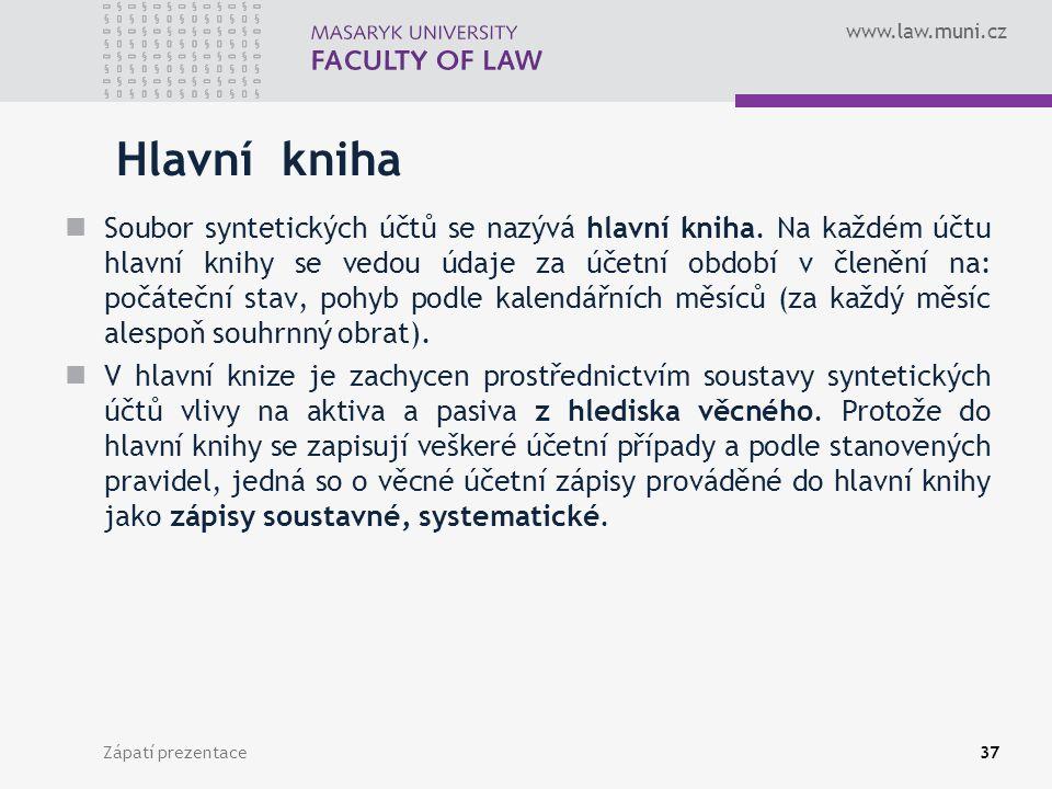 www.law.muni.cz Zápatí prezentace38 Kniha analytických účtů Účetní zápisy vedené v hlavní knize jsou podrobněji členěny v knize analytických účtů.