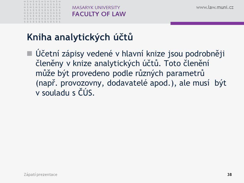 www.law.muni.cz Zápatí prezentace39 Kniha podrozvahových účtů V knize podrozvahových účtů účetní jednotka zaznamenává účetní operace, které není možné zaznamenat v účetním deníku a v hlavní knize.