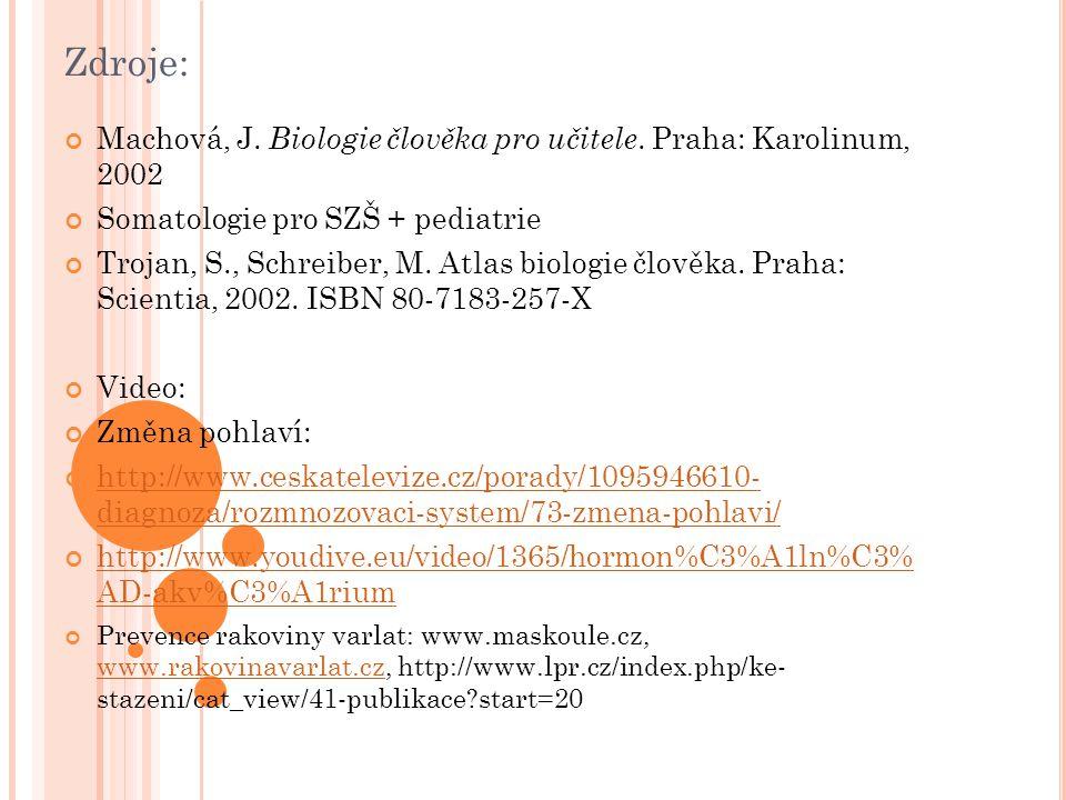 Zdroje: Machová, J. Biologie člověka pro učitele. Praha: Karolinum, 2002 Somatologie pro SZŠ + pediatrie Trojan, S., Schreiber, M. Atlas biologie člov