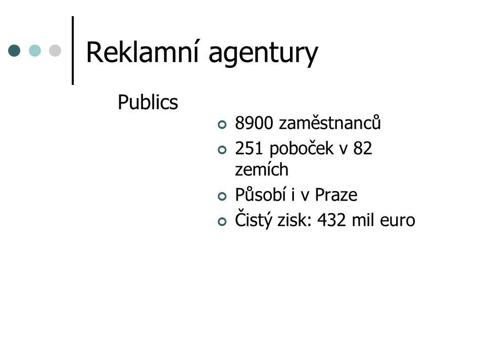 Reklamní agentury Publics 8900 zaměstnanců 251 poboček v 82 zemích Působí i v Praze Čistý zisk: 432 mil euro