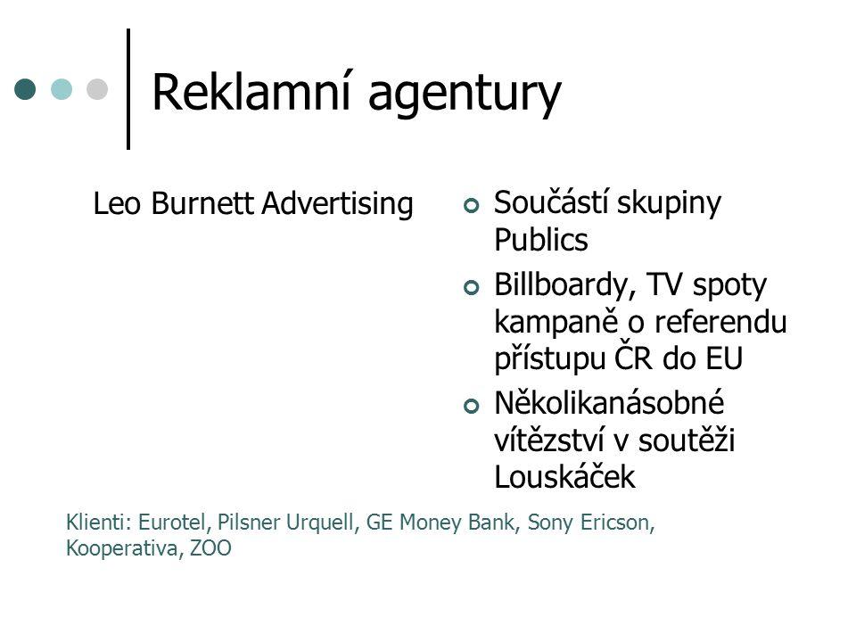 Reklamní agentury Leo Burnett Advertising Součástí skupiny Publics Billboardy, TV spoty kampaně o referendu přístupu ČR do EU Několikanásobné vítězstv