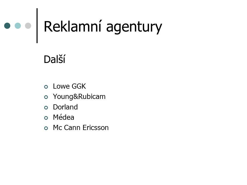 Reklamní agentury Další Lowe GGK Young&Rubicam Dorland Médea Mc Cann Ericsson