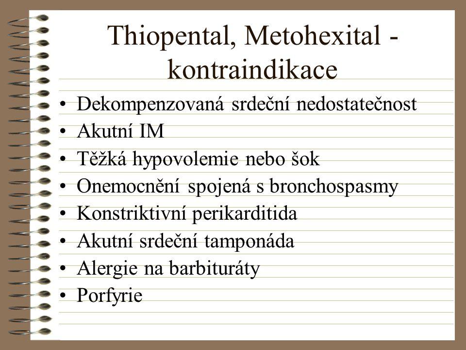 Thiopental, Metohexital - kontraindikace Dekompenzovaná srdeční nedostatečnost Akutní IM Těžká hypovolemie nebo šok Onemocnění spojená s bronchospasmy