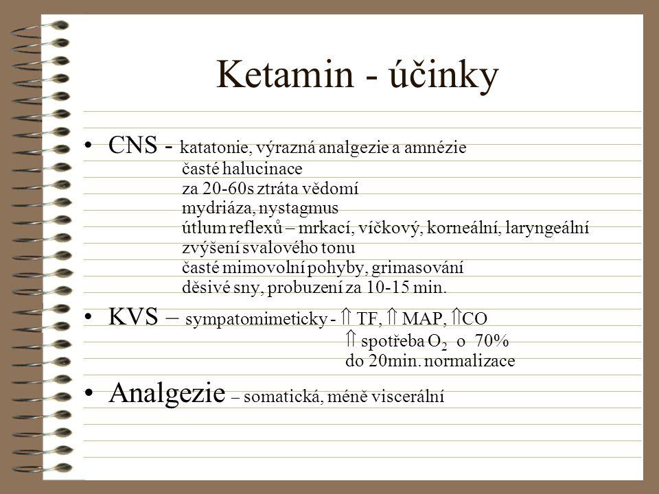 Ketamin - účinky CNS - katatonie, výrazná analgezie a amnézie časté halucinace za 20-60s ztráta vědomí mydriáza, nystagmus útlum reflexů – mrkací, víč