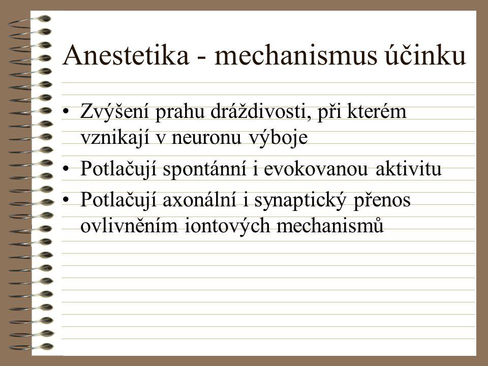 Anestetika - mechanismus účinku Zvýšení prahu dráždivosti, při kterém vznikají v neuronu výboje Potlačují spontánní i evokovanou aktivitu Potlačují ax