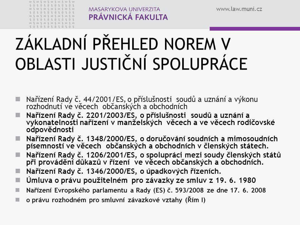 www.law.muni.cz ZÁKLADNÍ PŘEHLED NOREM V OBLASTI JUSTIČNÍ SPOLUPRÁCE Nařízení Rady č. 44/2001/ES, o příslušnosti soudů a uznání a výkonu rozhodnutí ve