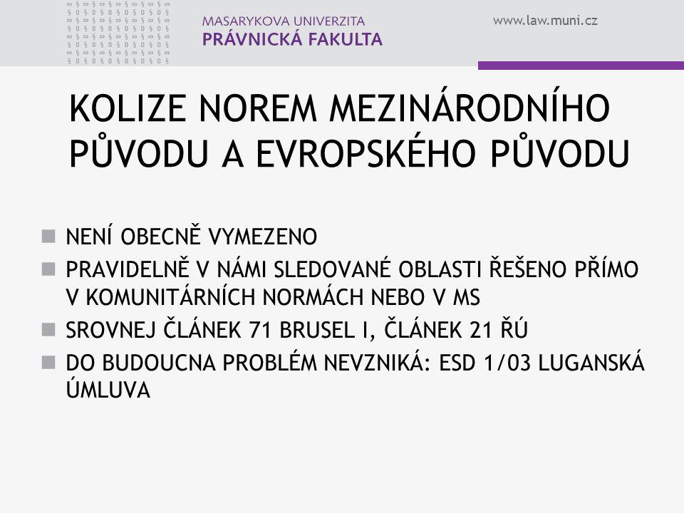 www.law.muni.cz KOLIZE NOREM MEZINÁRODNÍHO PŮVODU A EVROPSKÉHO PŮVODU NENÍ OBECNĚ VYMEZENO PRAVIDELNĚ V NÁMI SLEDOVANÉ OBLASTI ŘEŠENO PŘÍMO V KOMUNITÁ