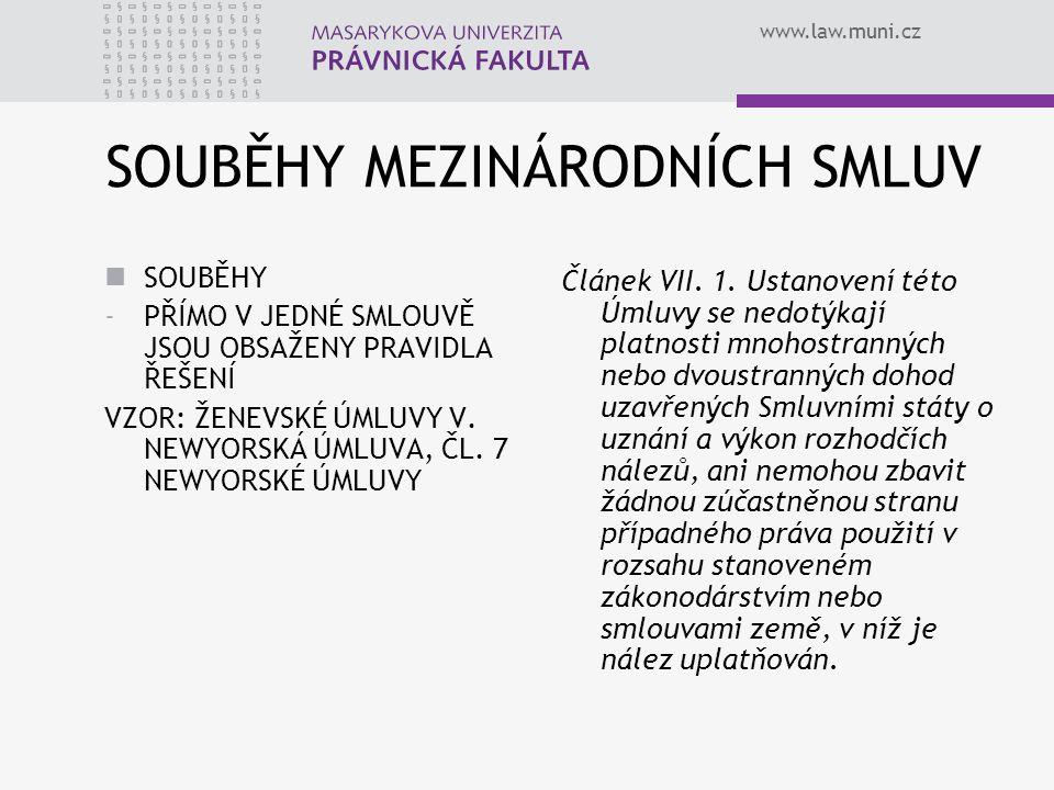 www.law.muni.cz SOUBĚHY MEZINÁRODNÍCH SMLUV SOUBĚHY -PŘÍMO V JEDNÉ SMLOUVĚ JSOU OBSAŽENY PRAVIDLA ŘEŠENÍ VZOR: ŽENEVSKÉ ÚMLUVY V. NEWYORSKÁ ÚMLUVA, ČL