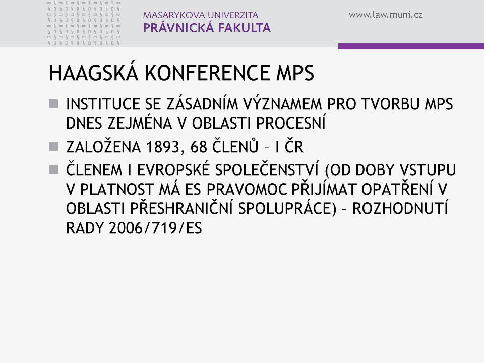 www.law.muni.cz HAAGSKÁ KONFERENCE MPS INSTITUCE SE ZÁSADNÍM VÝZNAMEM PRO TVORBU MPS DNES ZEJMÉNA V OBLASTI PROCESNÍ ZALOŽENA 1893, 68 ČLENŮ – I ČR ČL