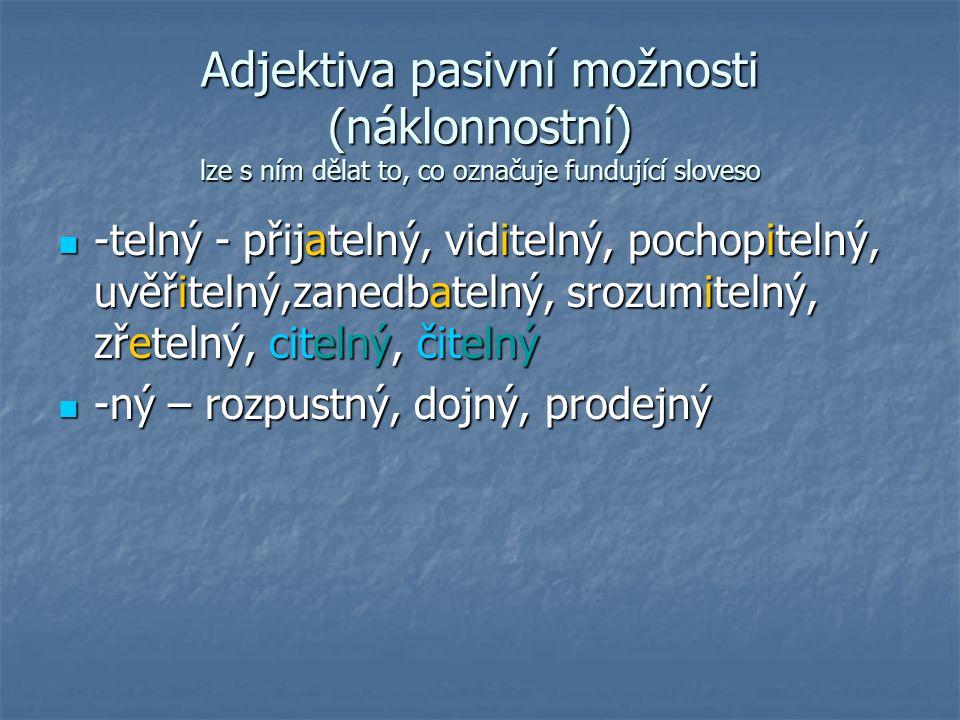 Adjektiva pasivní možnosti (náklonnostní) lze s ním dělat to, co označuje fundující sloveso -telný - přijatelný, viditelný, pochopitelný, uvěřitelný,z