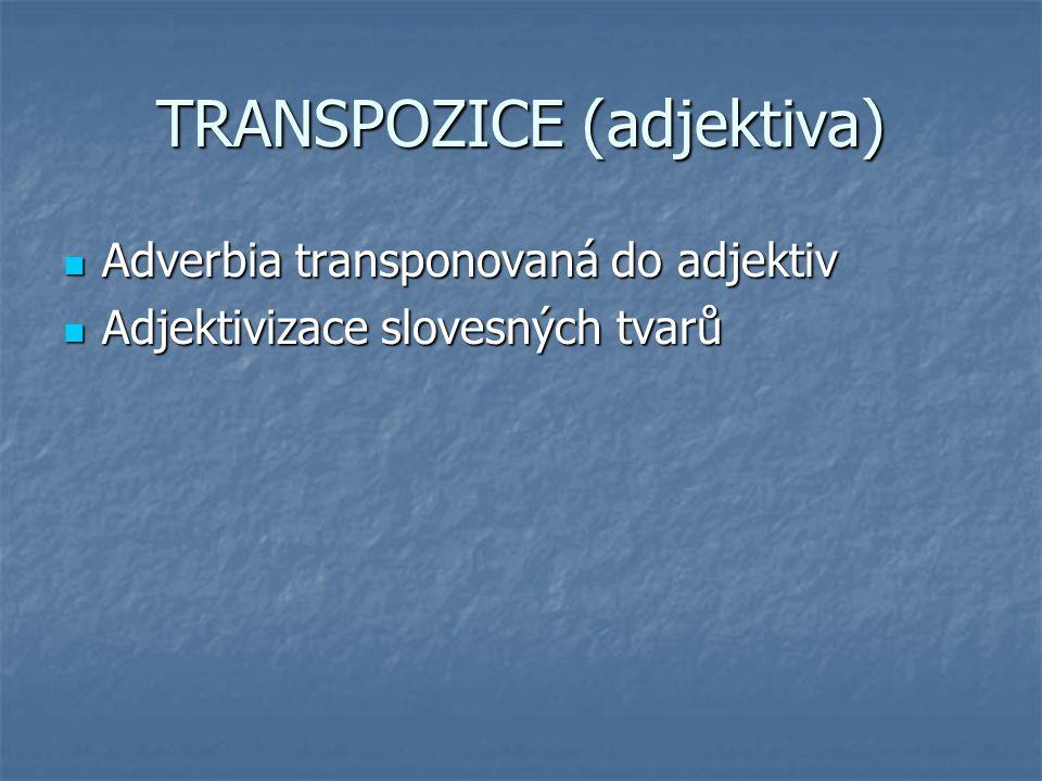 TRANSPOZICE (adjektiva) Adverbia transponovaná do adjektiv Adverbia transponovaná do adjektiv Adjektivizace slovesných tvarů Adjektivizace slovesných
