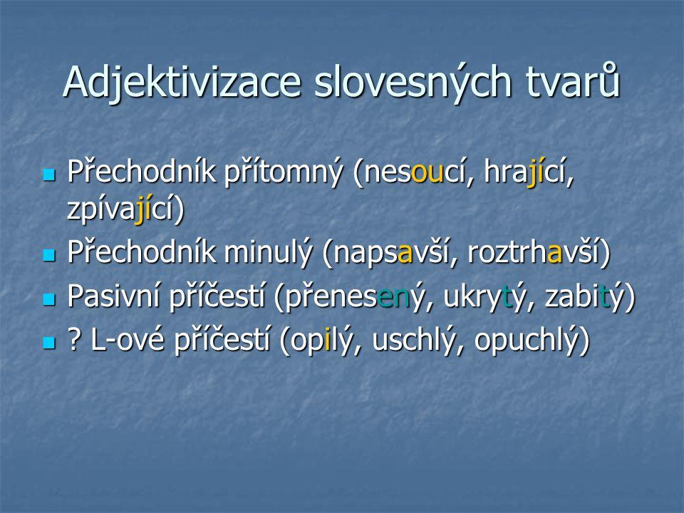 Adjektivizace slovesných tvarů Přechodník přítomný (nesoucí, hrající, zpívající) Přechodník přítomný (nesoucí, hrající, zpívající) Přechodník minulý (