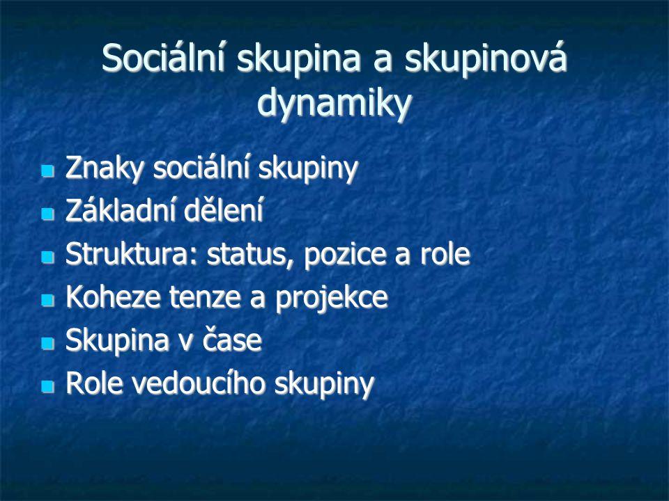 Sociální skupina a skupinová dynamiky Znaky sociální skupiny Znaky sociální skupiny Základní dělení Základní dělení Struktura: status, pozice a role S