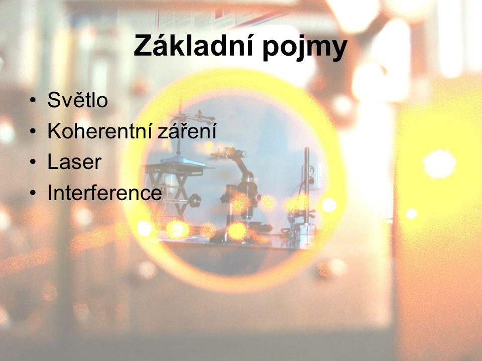 Základní pojmy Světlo Koherentní záření Laser Interference