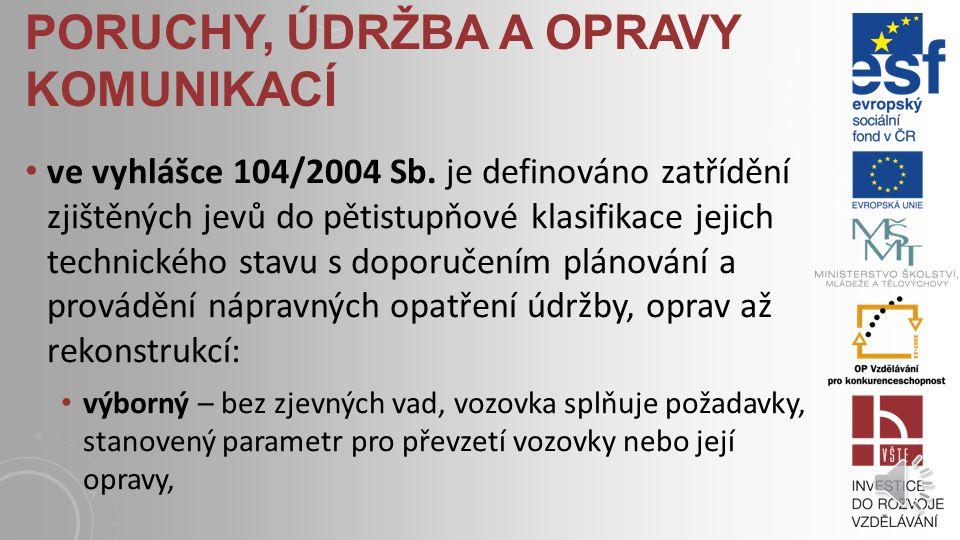 PORUCHY, ÚDRŽBA A OPRAVY KOMUNIKACÍ ve vyhlášce 104/2004 Sb.
