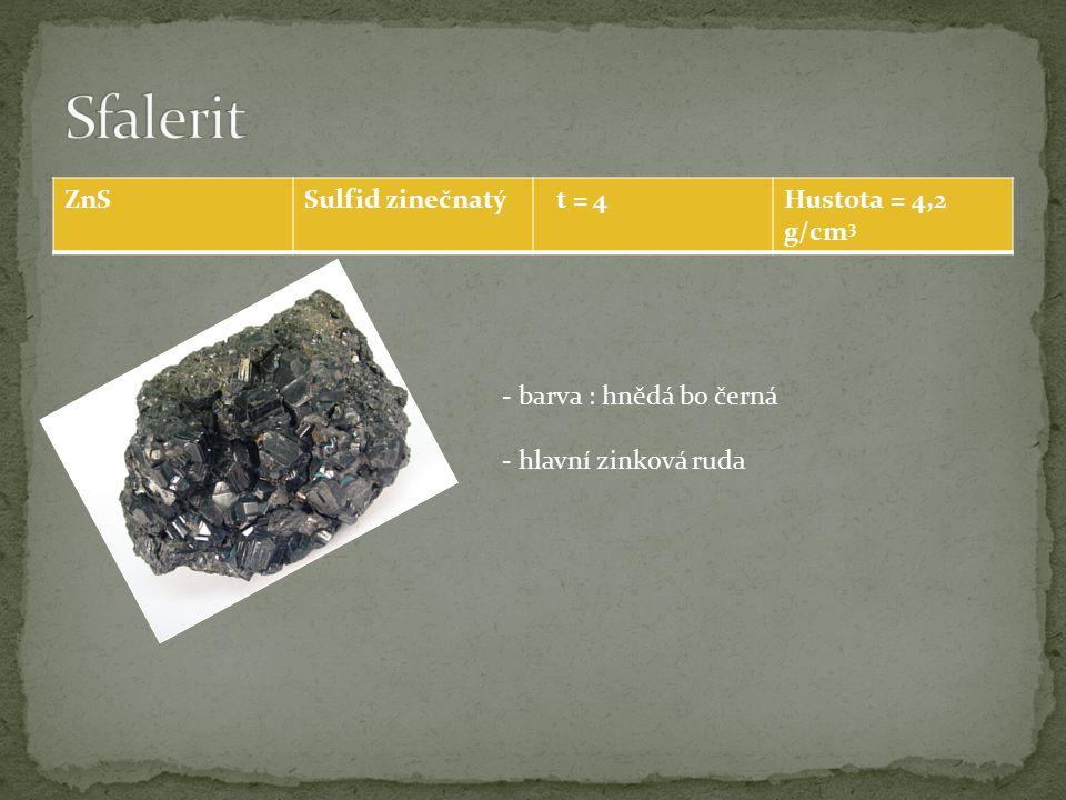 ZnSSulfid zinečnatý t = 4Hustota = 4,2 g/cm 3 - barva : hnědá bo černá - hlavní zinková ruda