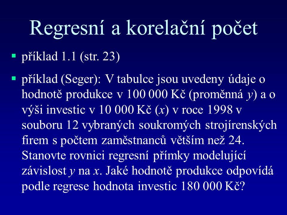 Regresní a korelační počet  příklad 1.1 (str. 23)  příklad (Seger): V tabulce jsou uvedeny údaje o hodnotě produkce v 100 000 Kč (proměnná y) a o vý
