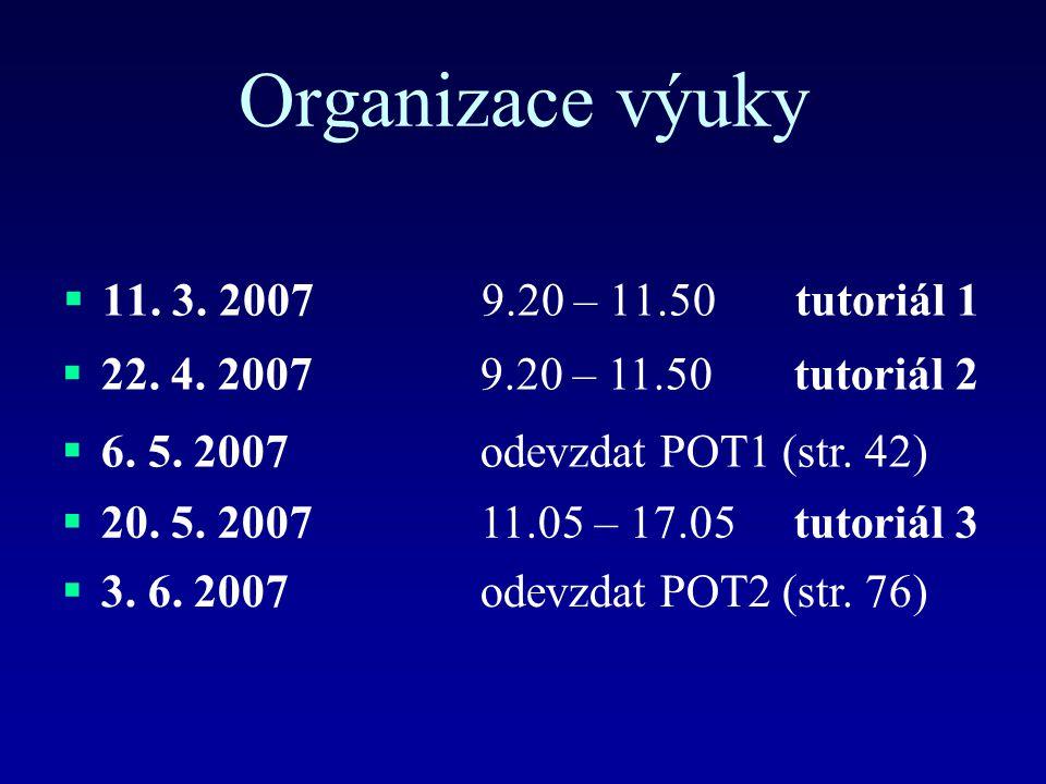 Organizace výuky  11. 3. 20079.20 – 11.50tutoriál 1  22. 4. 20079.20 – 11.50tutoriál 2  6. 5. 2007odevzdat POT1 (str. 42)  20. 5. 200711.05 – 17.0