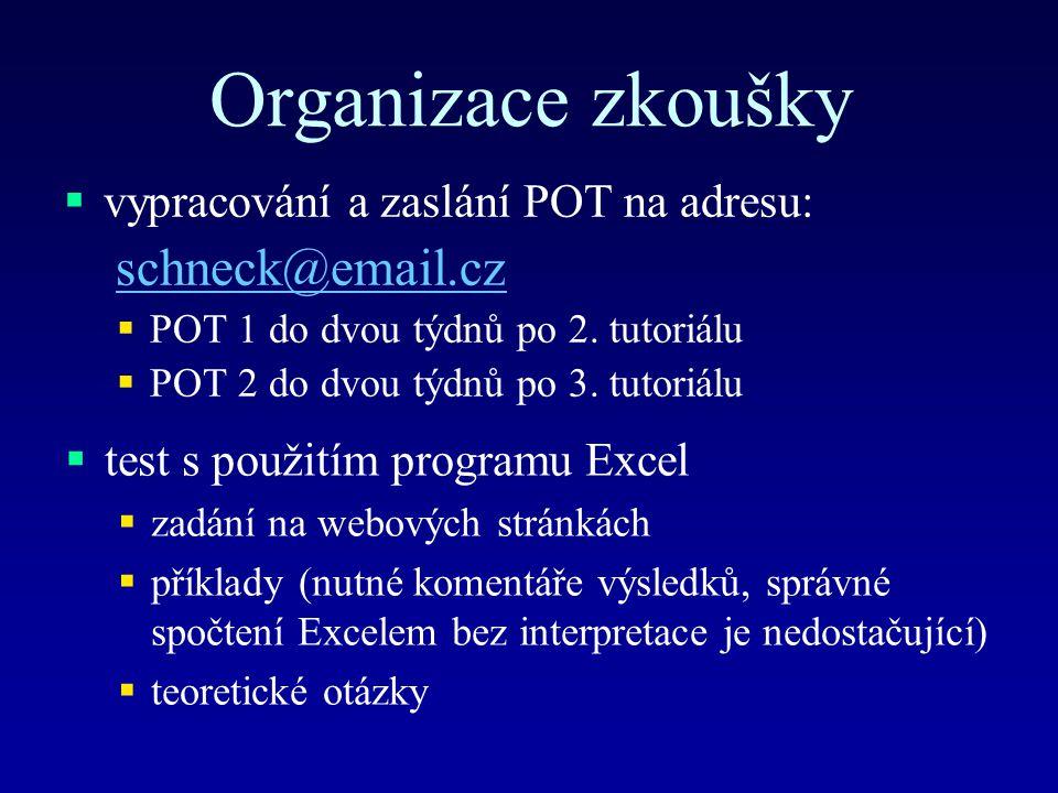 Organizace zkoušky  vypracování a zaslání POT na adresu: schneck@email.cz  POT 1 do dvou týdnů po 2. tutoriálu  POT 2 do dvou týdnů po 3. tutoriálu