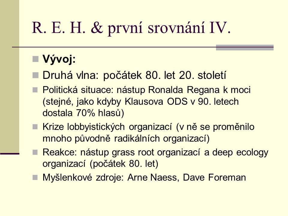 R.E. H. & první srovnání V. Earth First. (genealogie, čím byli na počátku a čím dnes, 21.
