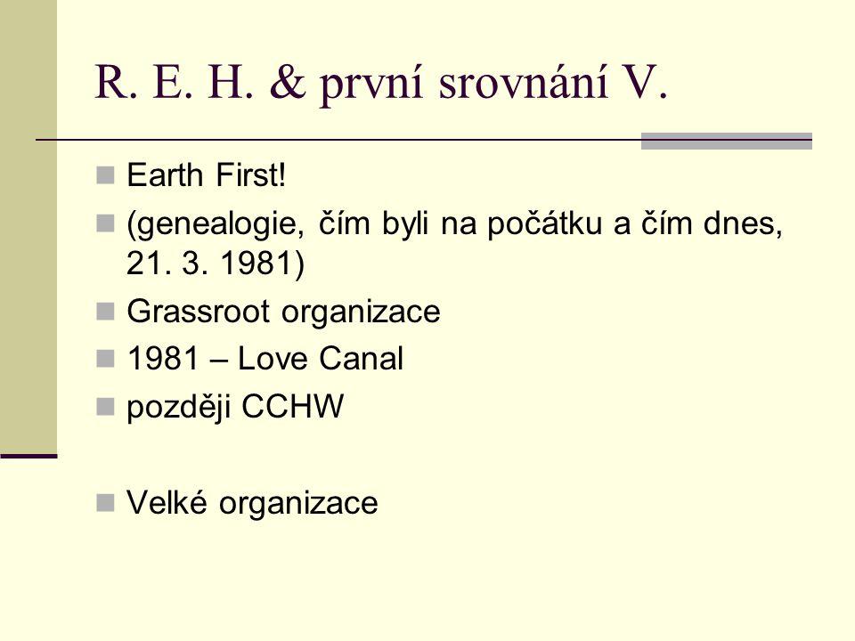 R. E. H. & první srovnání V. Earth First! (genealogie, čím byli na počátku a čím dnes, 21. 3. 1981) Grassroot organizace 1981 – Love Canal později CCH